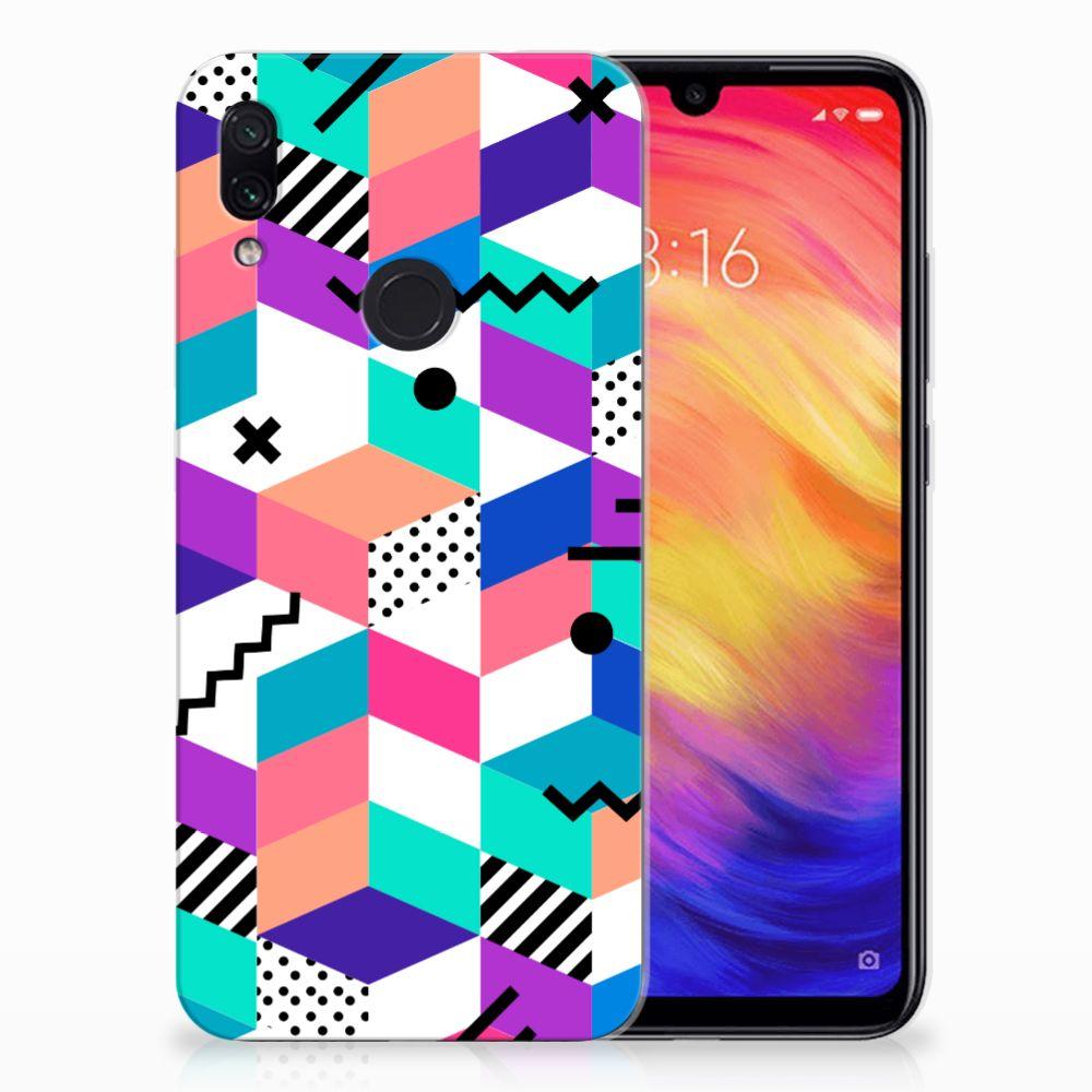 Xiaomi Redmi Note 7 TPU Hoesje Blokken Kleurrijk