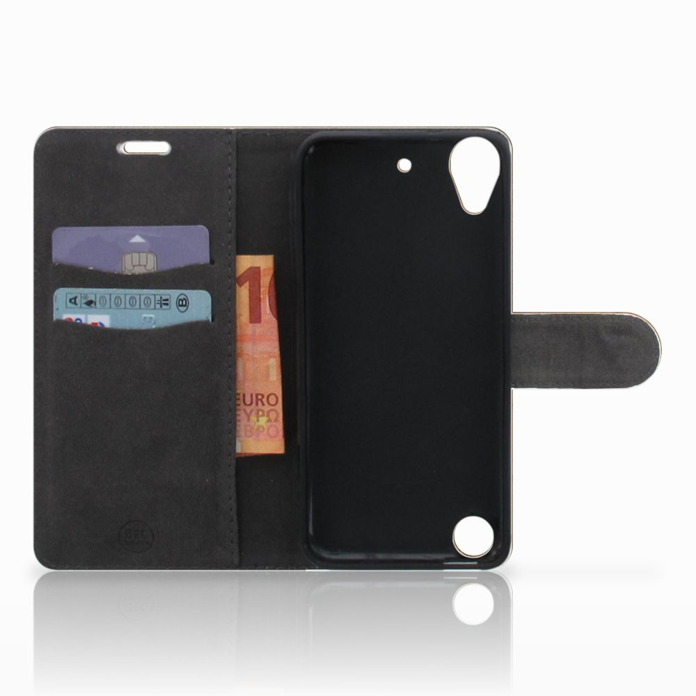 HTC Desire 530 Book Style Case Donker Hout
