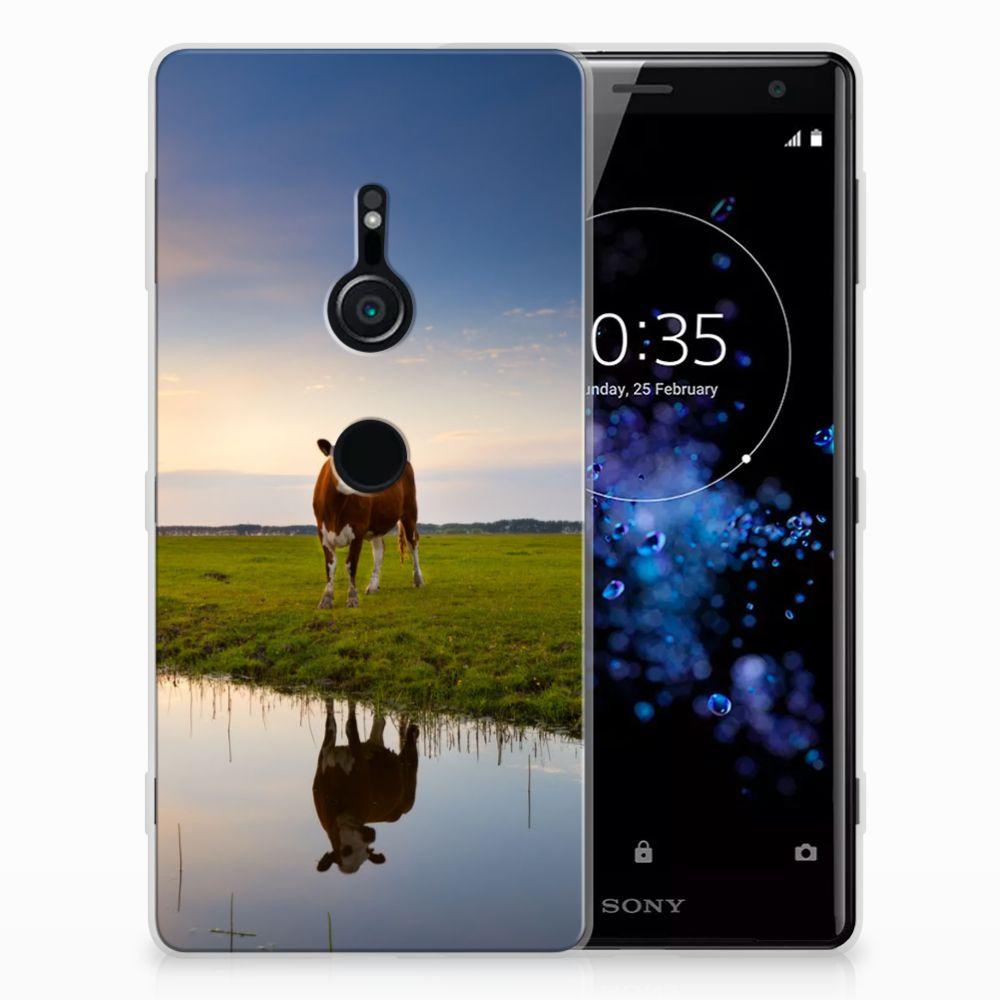 Sony Xperia XZ2 TPU Hoesje Design Koe