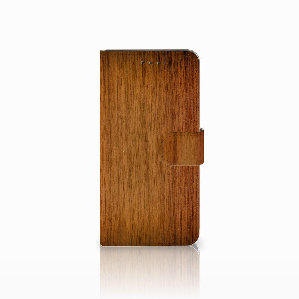 Motorola Moto E5 Play Uniek Boekhoesje Donker Hout