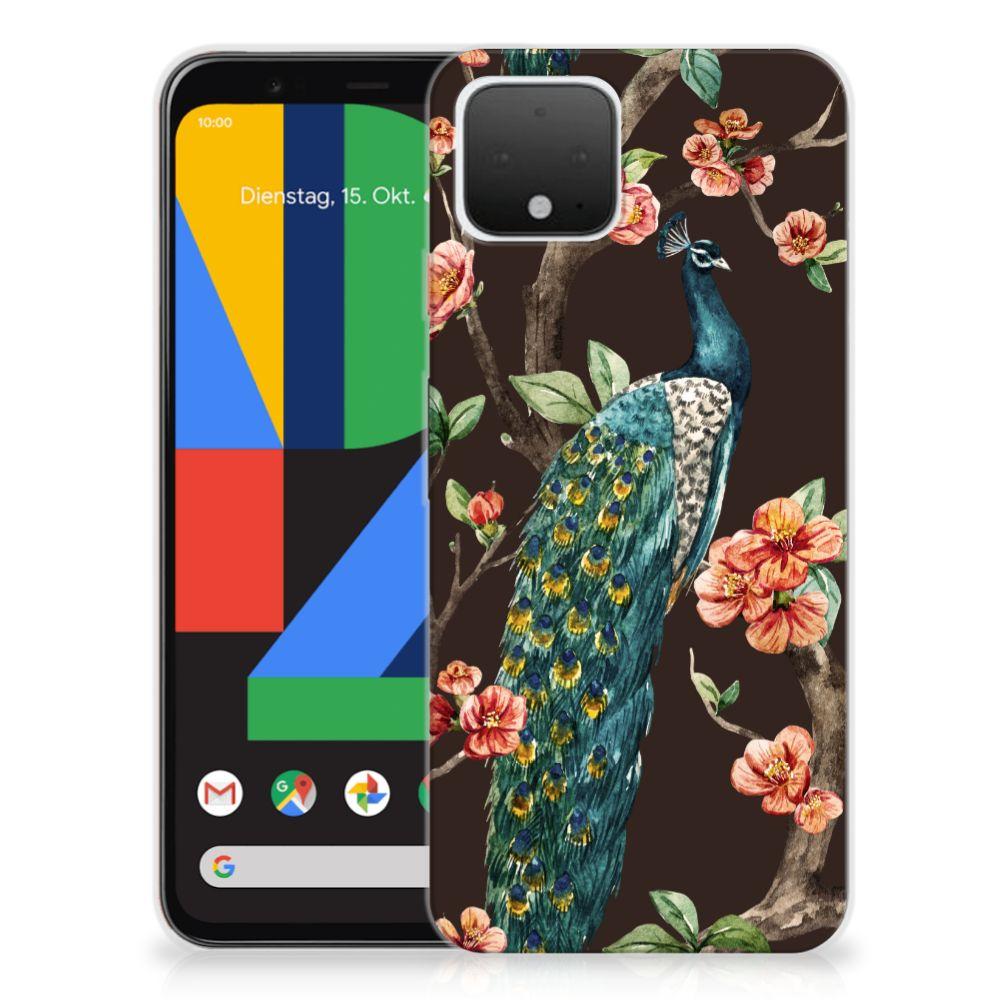 Google Pixel 4 TPU Hoesje Pauw met Bloemen