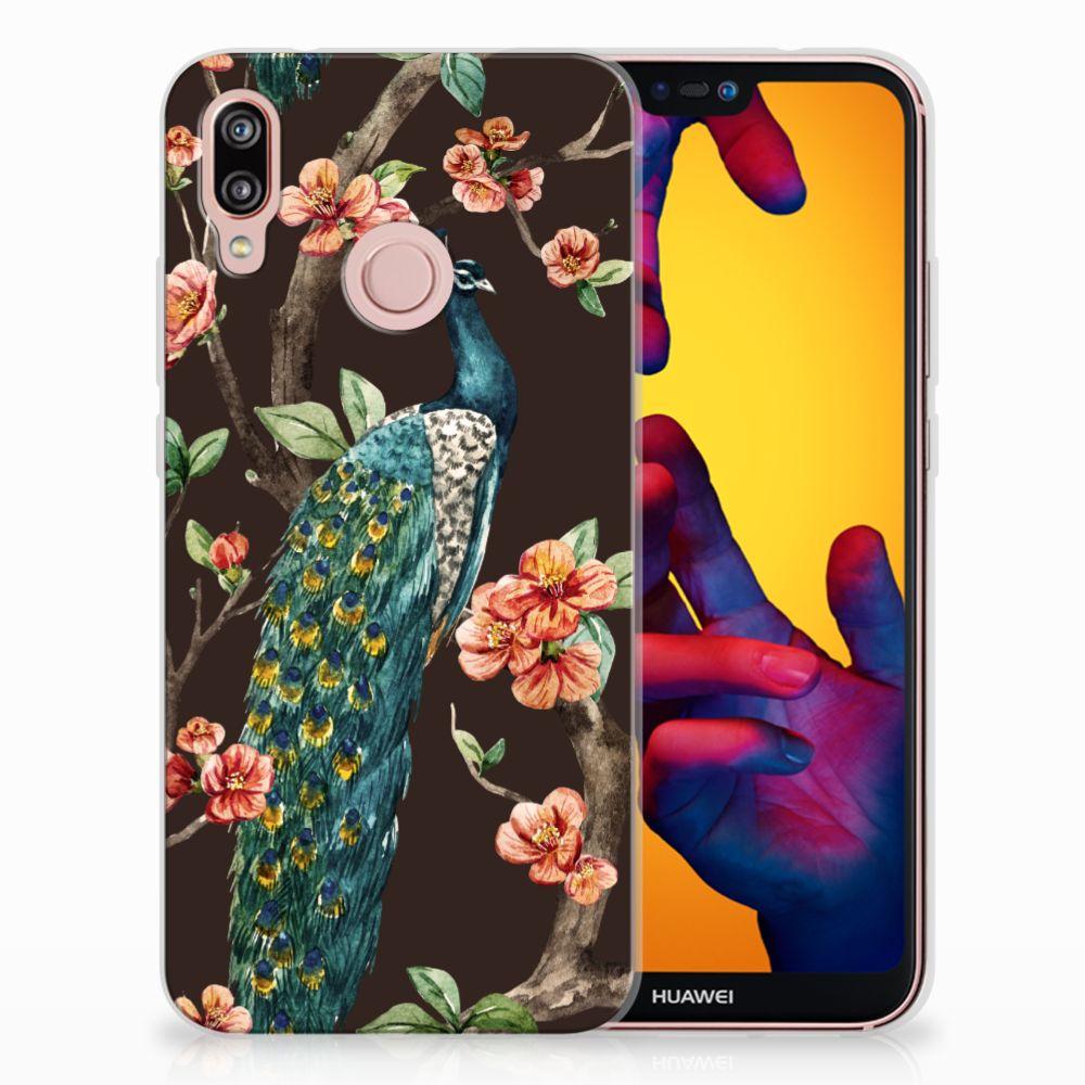 Huawei P20 Lite TPU Hoesje Design Pauw met Bloemen