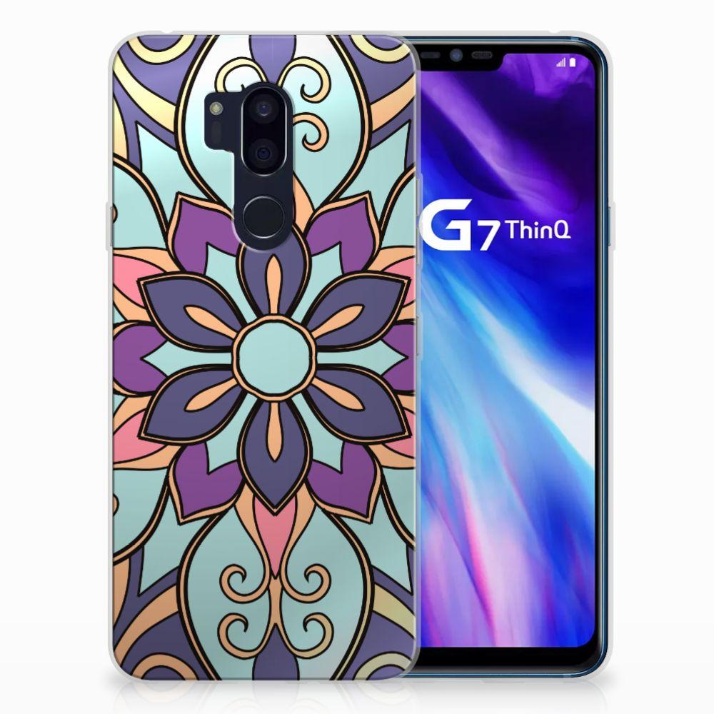 LG G7 Thinq TPU Hoesje Design Purple Flower