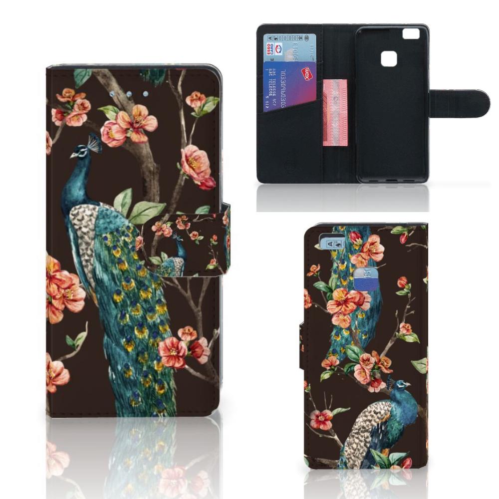 Huawei P9 Lite Telefoonhoesje met Pasjes Pauw met Bloemen