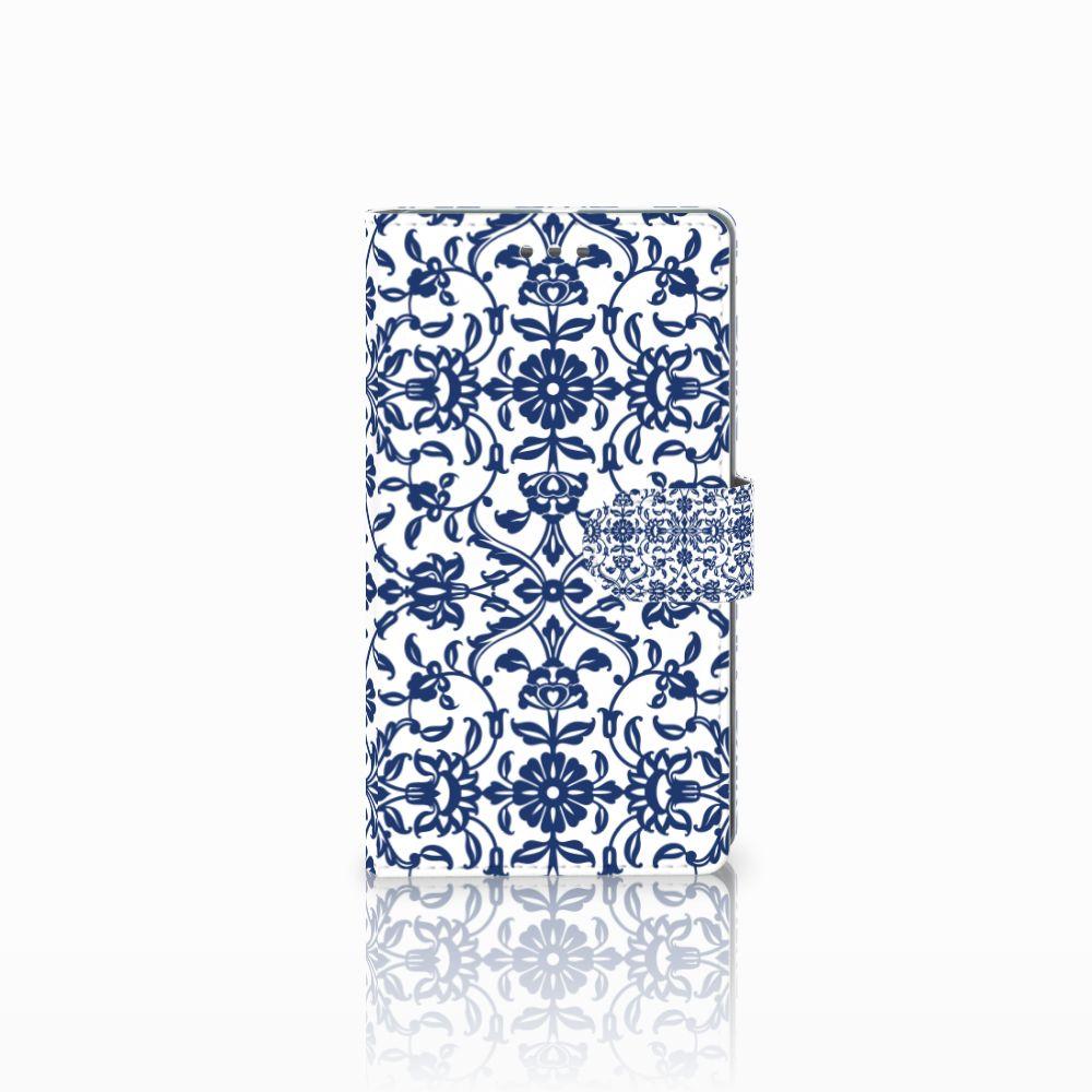 Microsoft Lumia 950 XL Uniek Boekhoesje Flower Blue