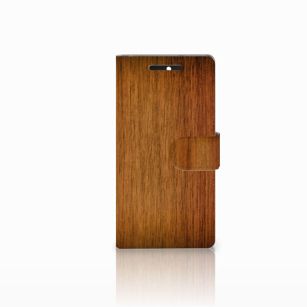 HTC Desire 628 Uniek Boekhoesje Donker Hout