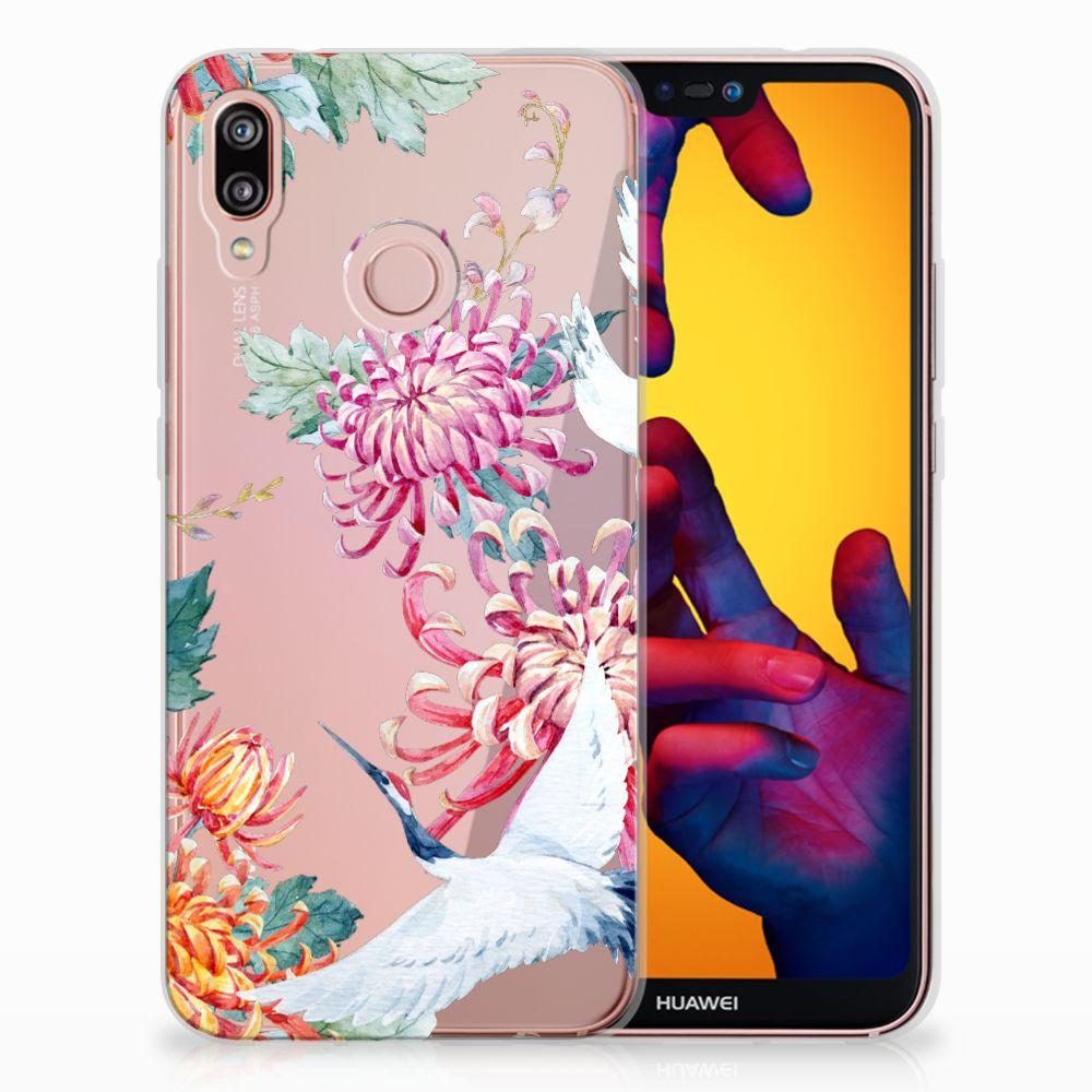 Huawei P20 Lite Uniek TPU Hoesje Bird Flowers