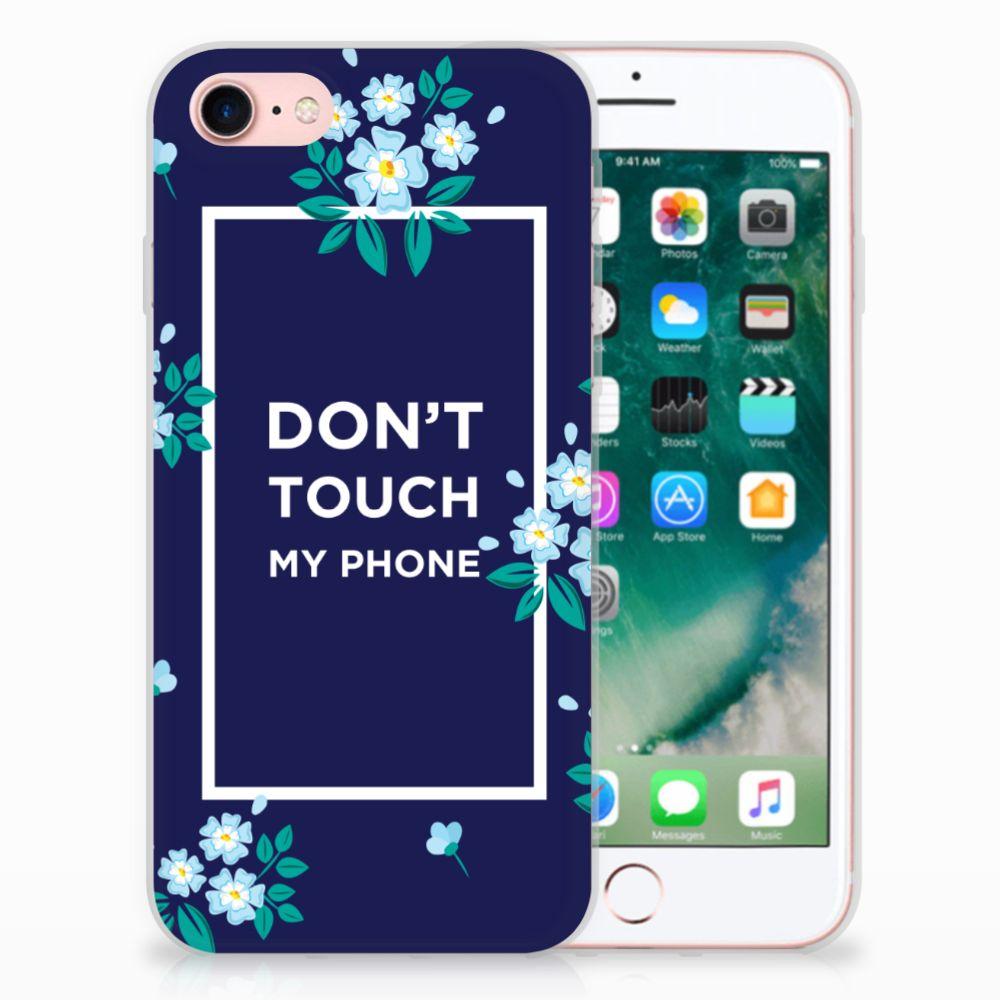 Apple iPhone 7 | 8 TPU Hoesje Flowers Blue DTMP
