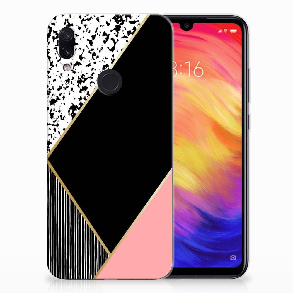 Xiaomi Redmi Note 7 TPU Hoesje Zwart Roze Vormen