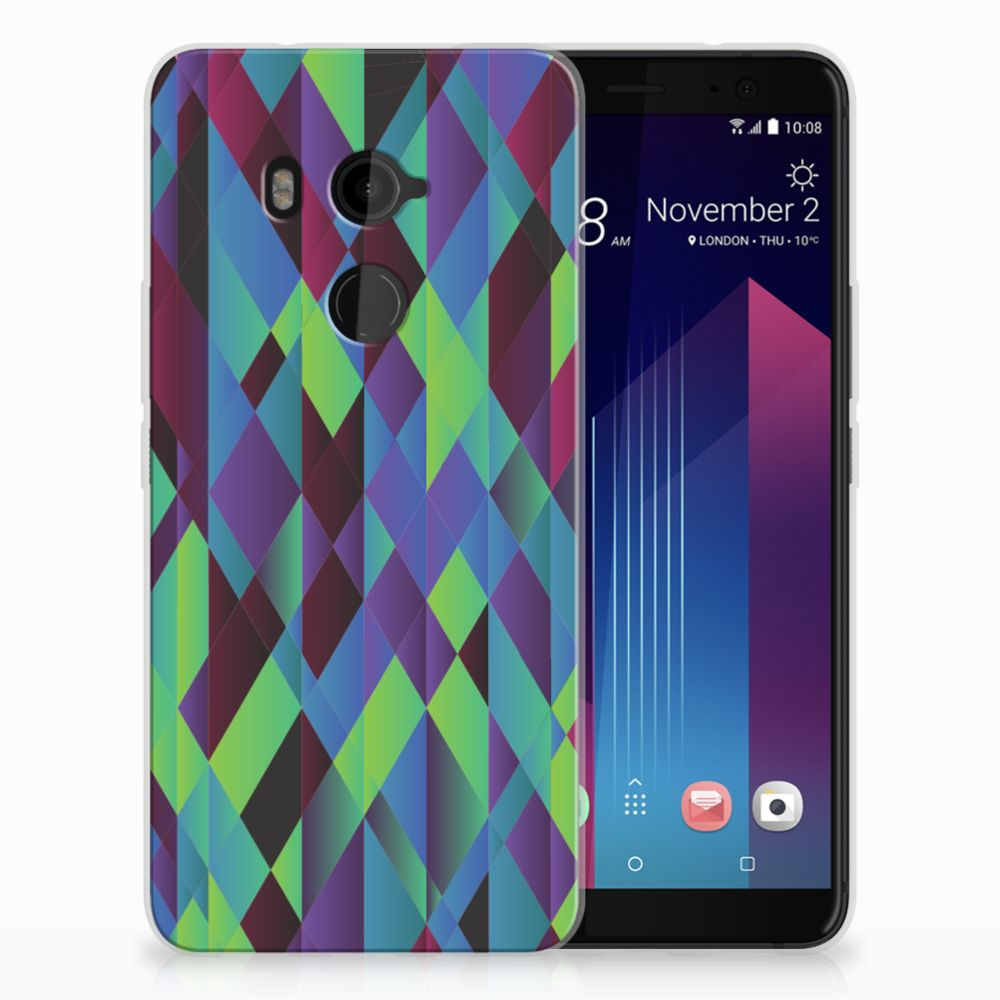 HTC U11 Plus TPU Hoesje Abstract Green Blue