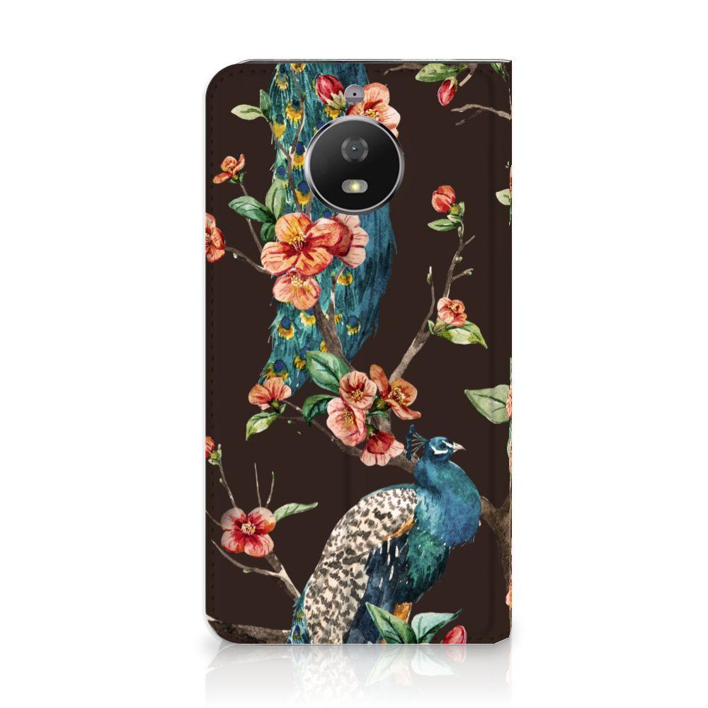 Motorola Moto G5S Standcase Hoesje Design Pauw met Bloemen