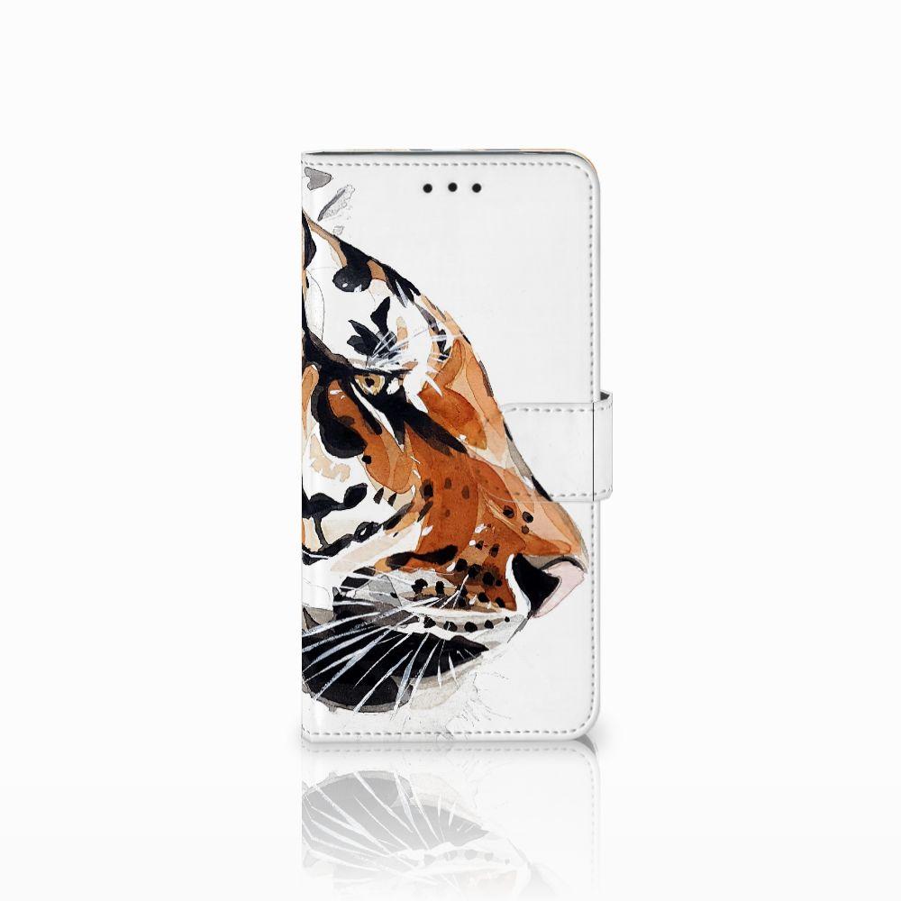 Motorola Moto E5 Uniek Boekhoesje Watercolor Tiger