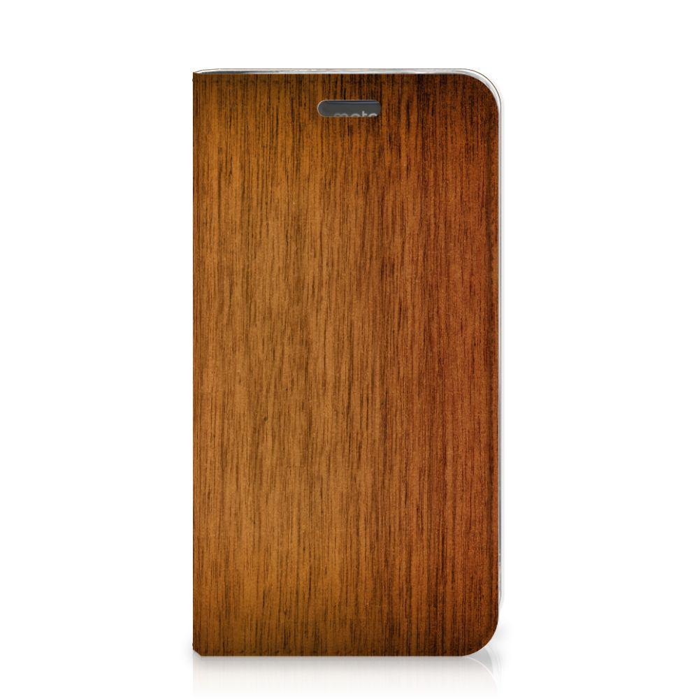 Motorola Moto C Plus Book Wallet Case Donker Hout