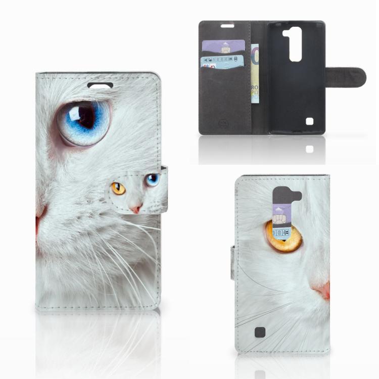 LG Magna | G4C Telefoonhoesje met Pasjes Witte Kat