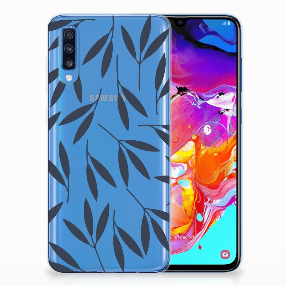 Samsung Galaxy A70 TPU Hoesje Design Leaves Blue