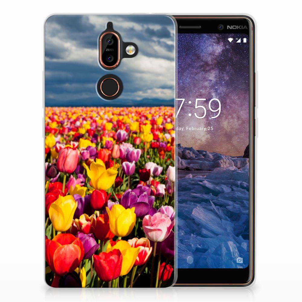 Nokia 7 Plus Uniek TPU Hoesje Tulpen