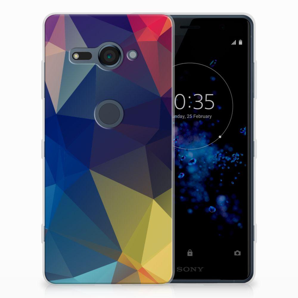 Sony Xperia XZ2 Compact Uniek TPU Hoesje Polygon Dark