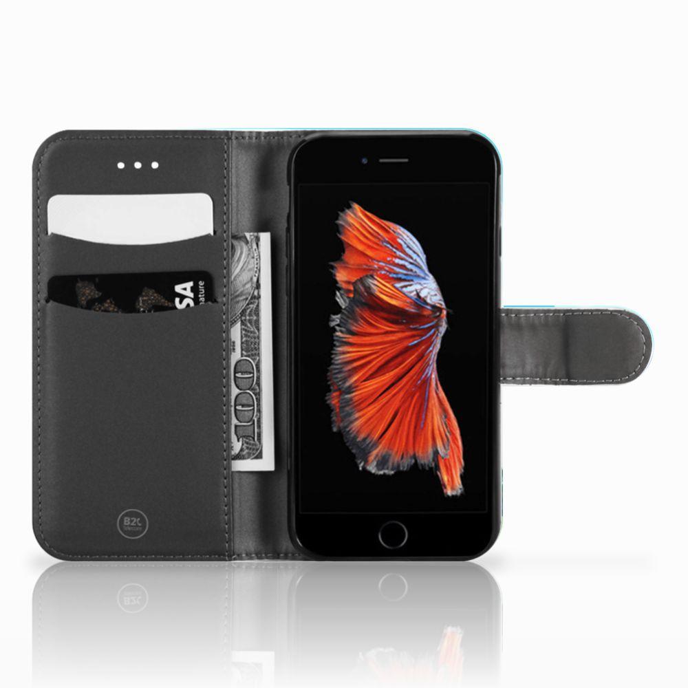 Apple iPhone 6   6s Boekhoesje Design Orchidee Blauw
