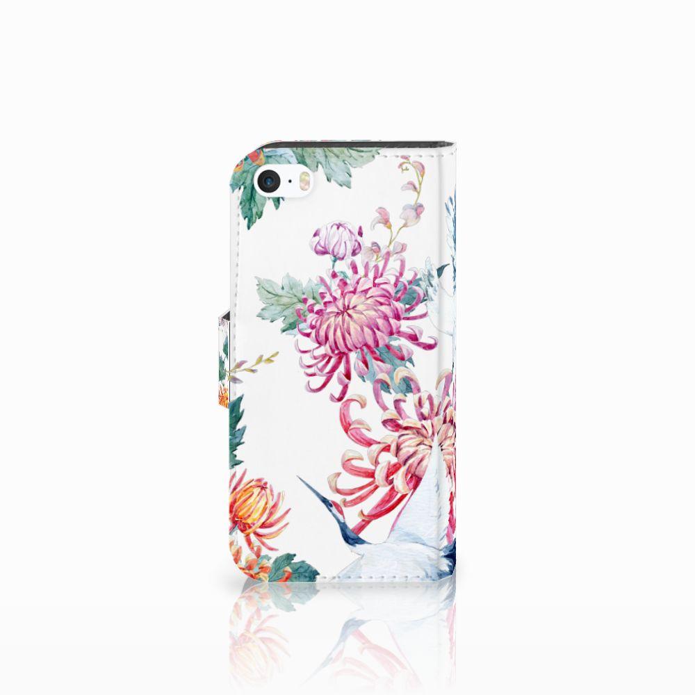 Apple iPhone 5 | 5s | SE Telefoonhoesje met Pasjes Bird Flowers