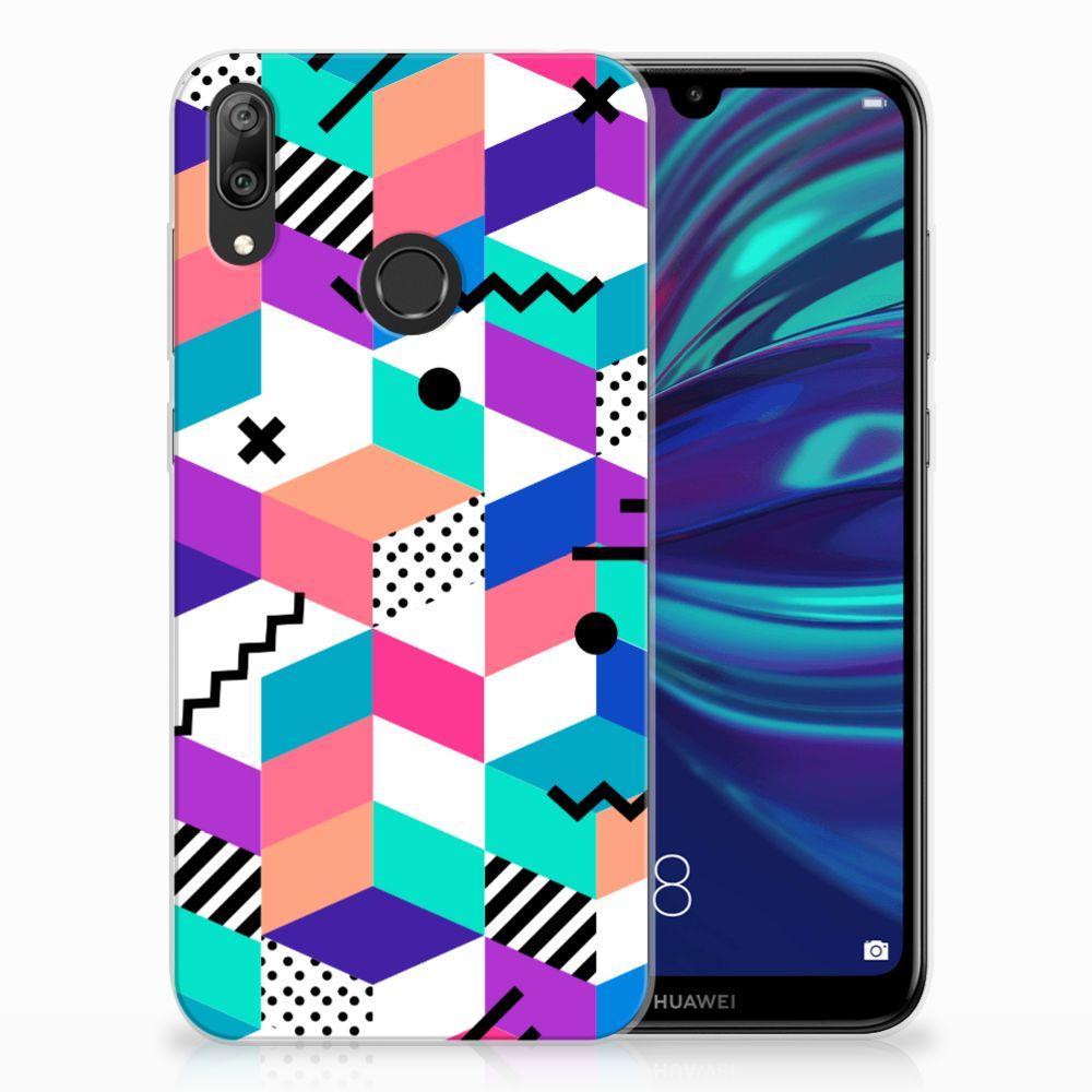 Huawei Y7 2019 TPU Hoesje Blokken Kleurrijk