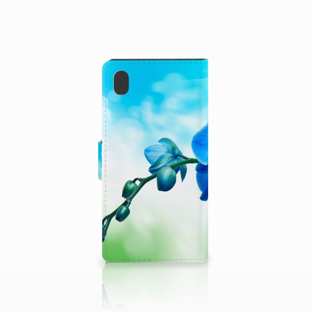 Sony Xperia M4 Aqua Hoesje Orchidee Blauw