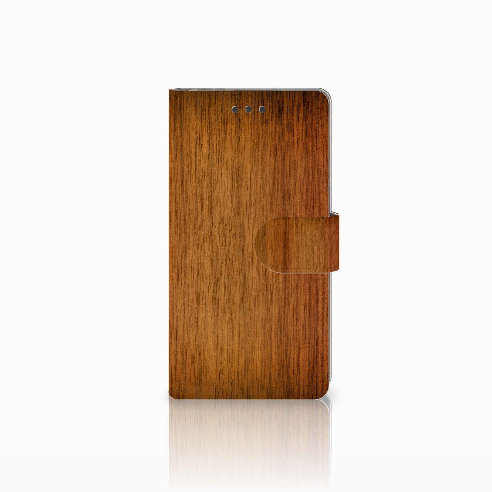 Sony Xperia E5 Uniek Boekhoesje Donker Hout