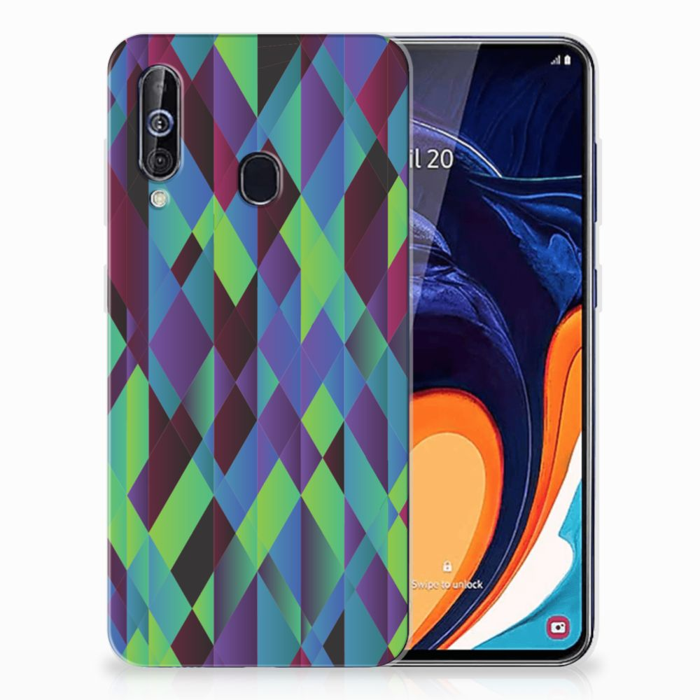 Samsung Galaxy A60 TPU Hoesje Abstract Green Blue
