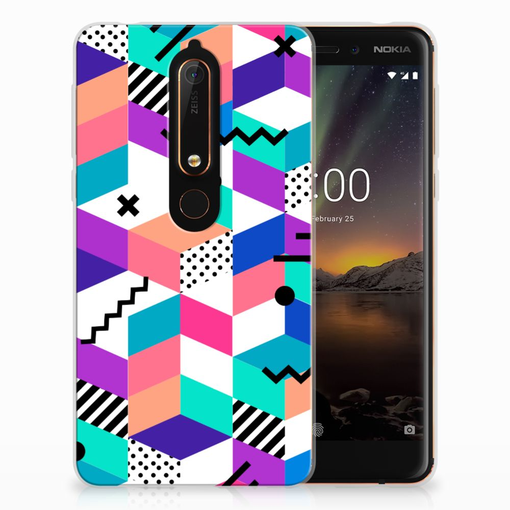 Nokia 6 (2018) TPU Hoesje Blokken Kleurrijk