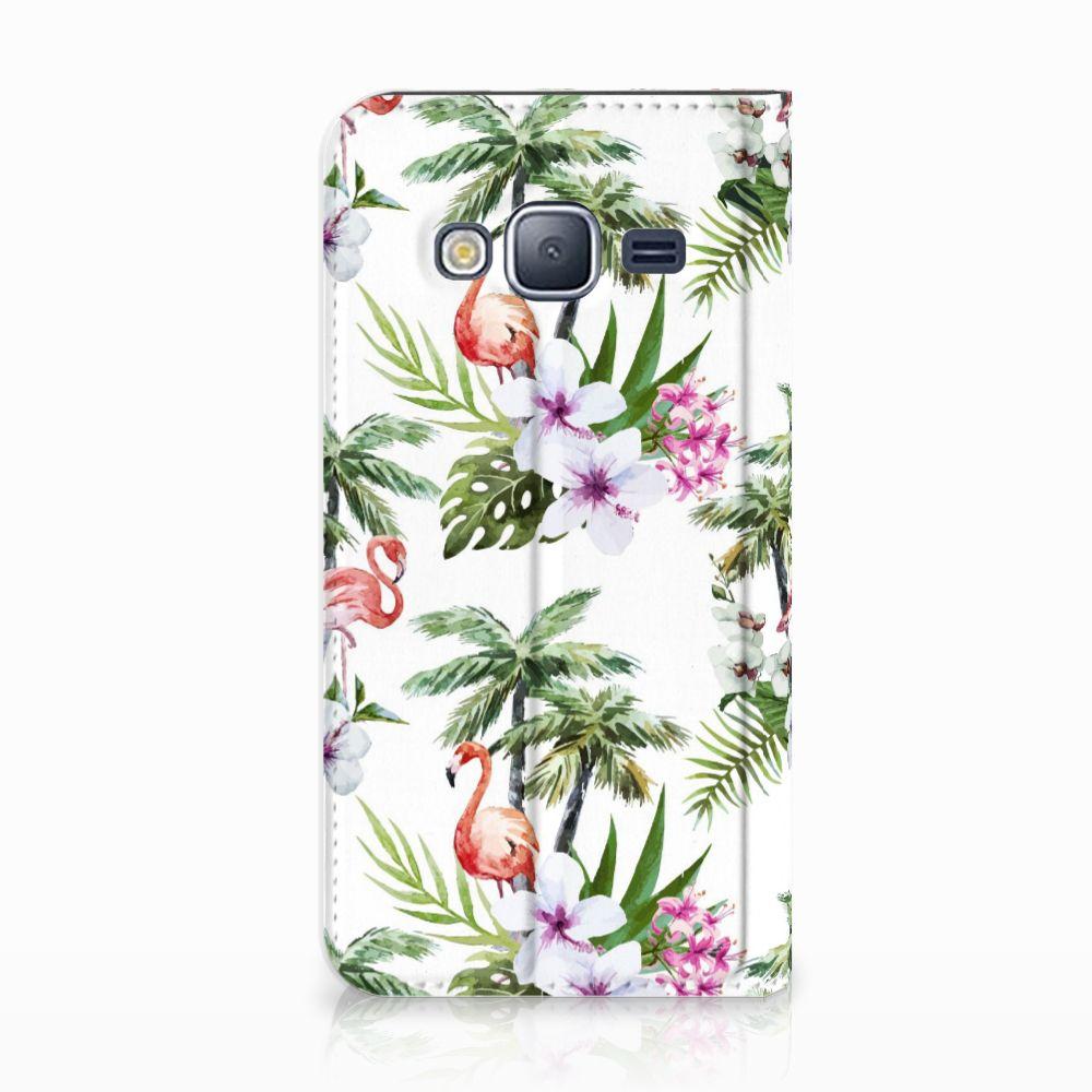 Samsung Galaxy J3 2016 Standcase Hoesje Design Flamingo Palms
