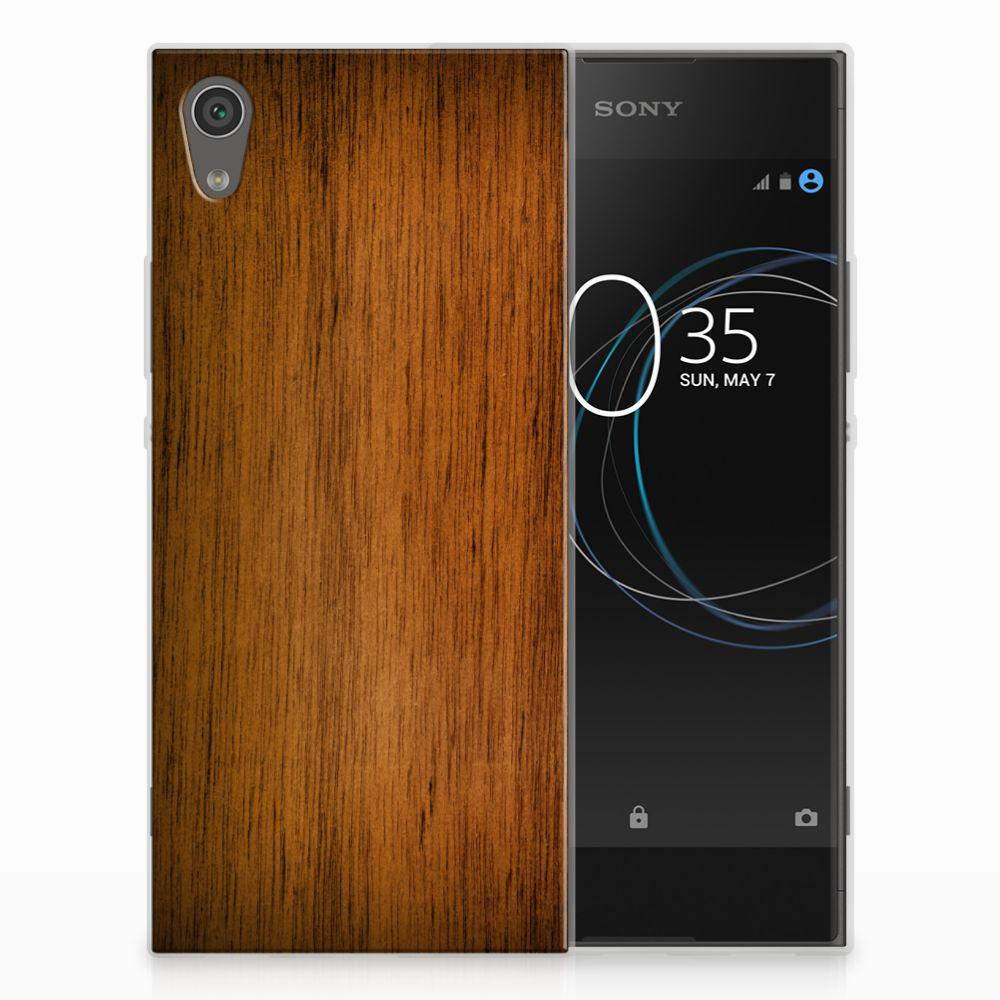 Sony Xperia XA1 Uniek TPU Hoesje Donker Hout
