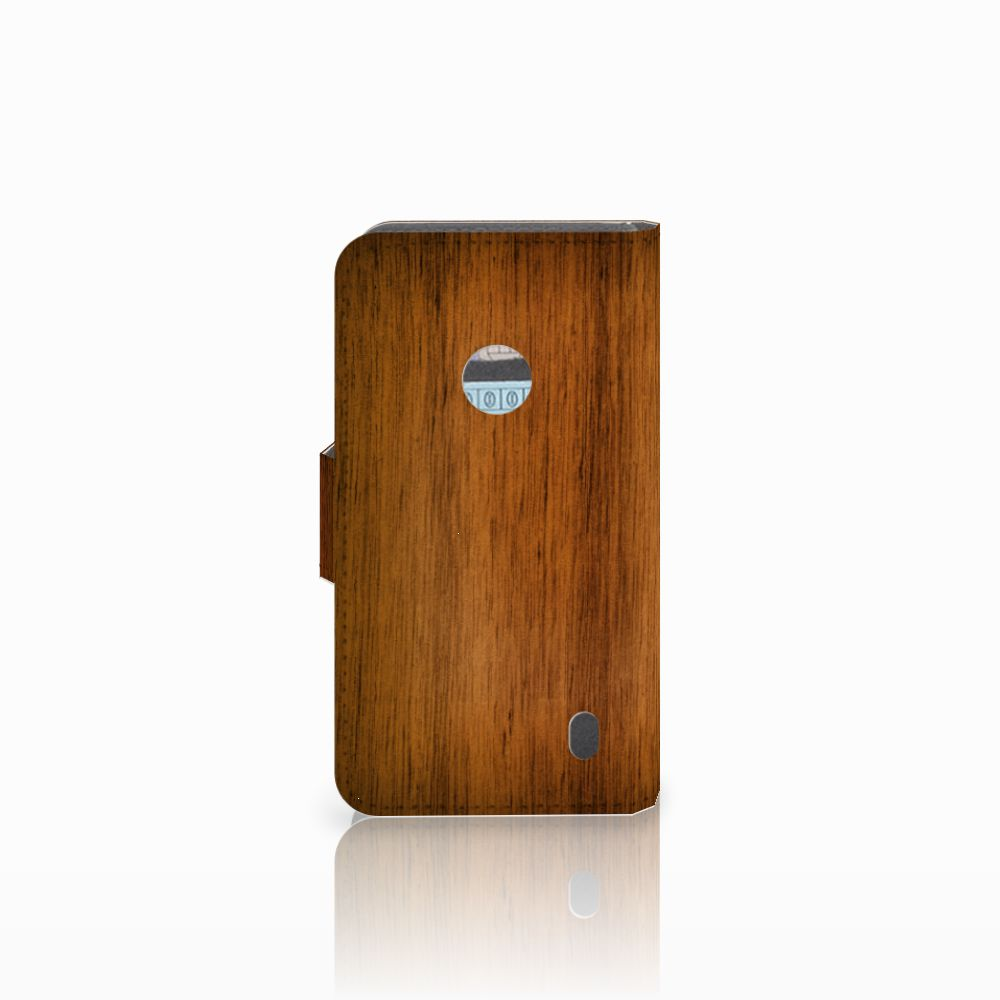 Nokia Lumia 520 Book Style Case Donker Hout