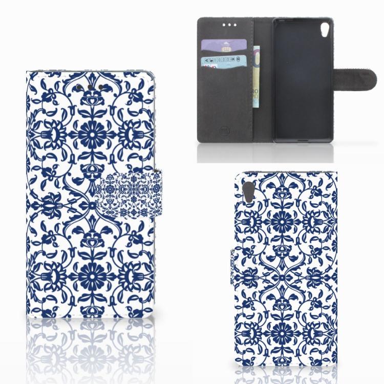 Sony Xperia E5 Hoesje Flower Blue