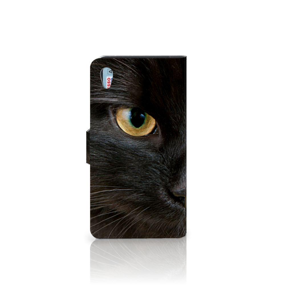 Sony Xperia Z2 Telefoonhoesje met Pasjes Zwarte Kat