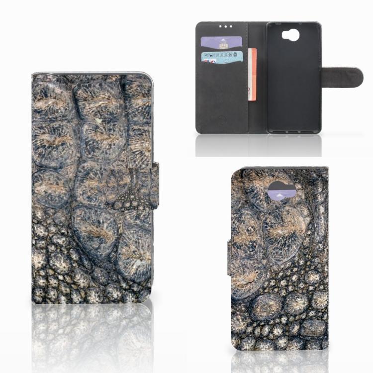 Huawei Y5 2 | Y6 II Compact Telefoonhoesje met Pasjes Krokodillenprint