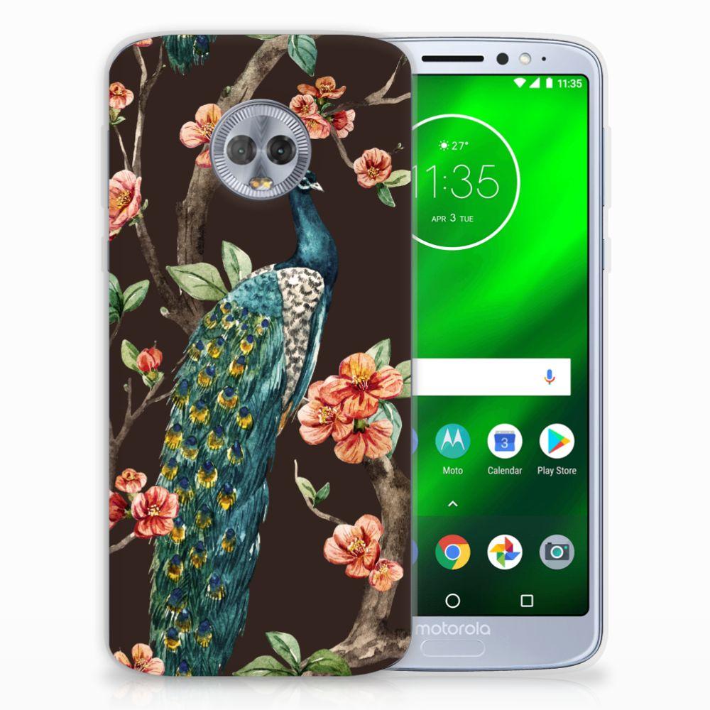 Motorola Moto G6 Plus TPU Hoesje Pauw met Bloemen