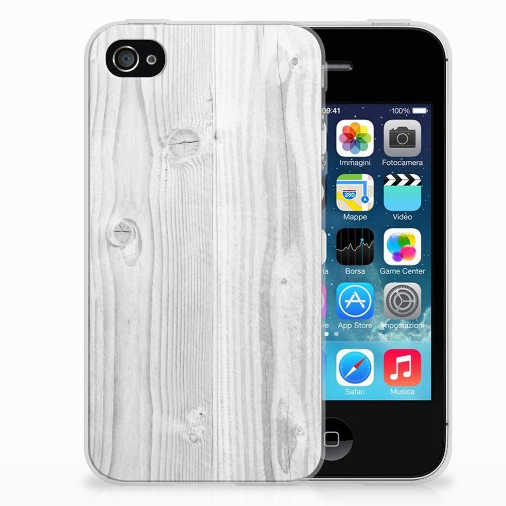Apple iPhone 4   4s Bumper Hoesje White Wood