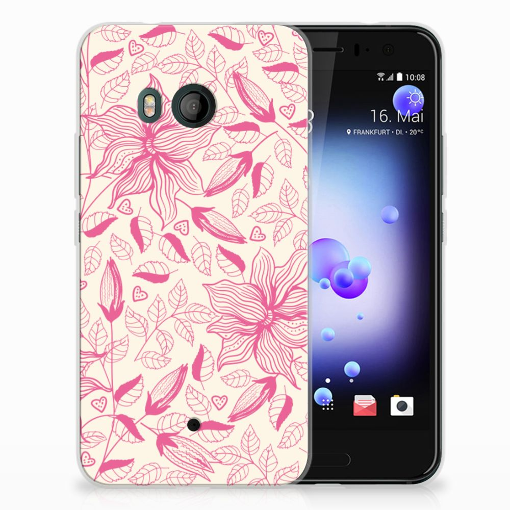 HTC U11 Uniek TPU Hoesje Pink Flowers