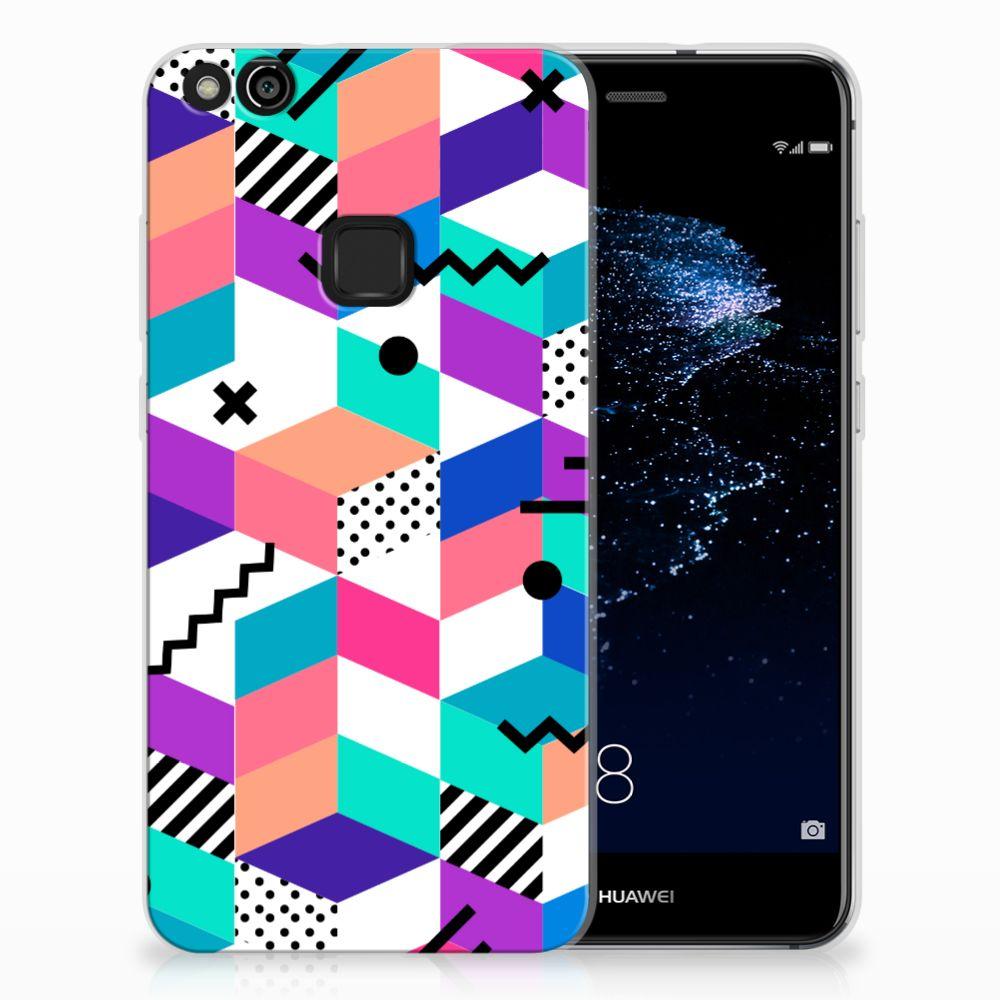 Huawei P10 Lite TPU Hoesje Blokken Kleurrijk