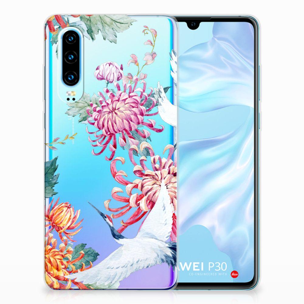 Huawei P30 TPU Hoesje Bird Flowers