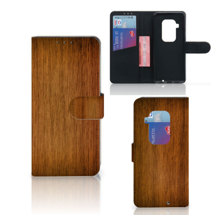 Motorola One Zoom Book Style Case Donker Hout