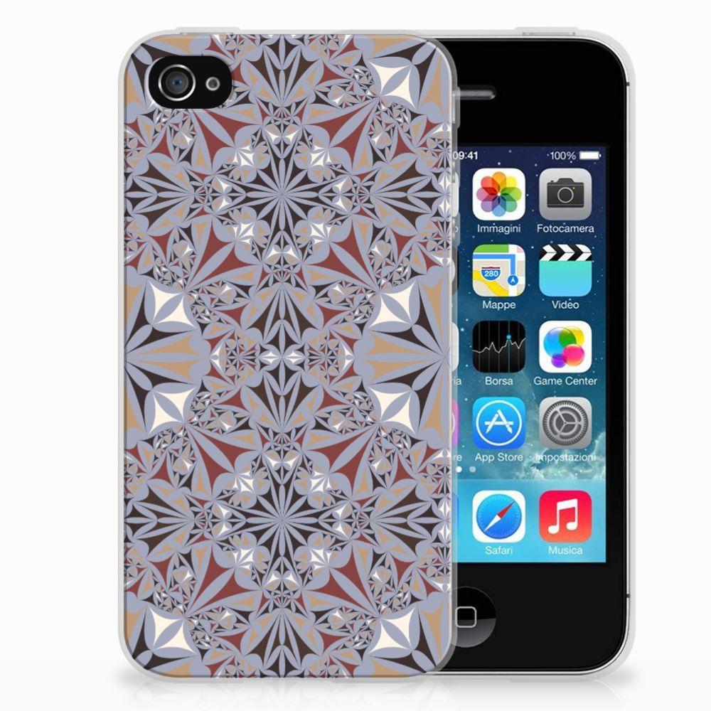 Apple iPhone 4   4s TPU Siliconen Hoesje Flower Tiles
