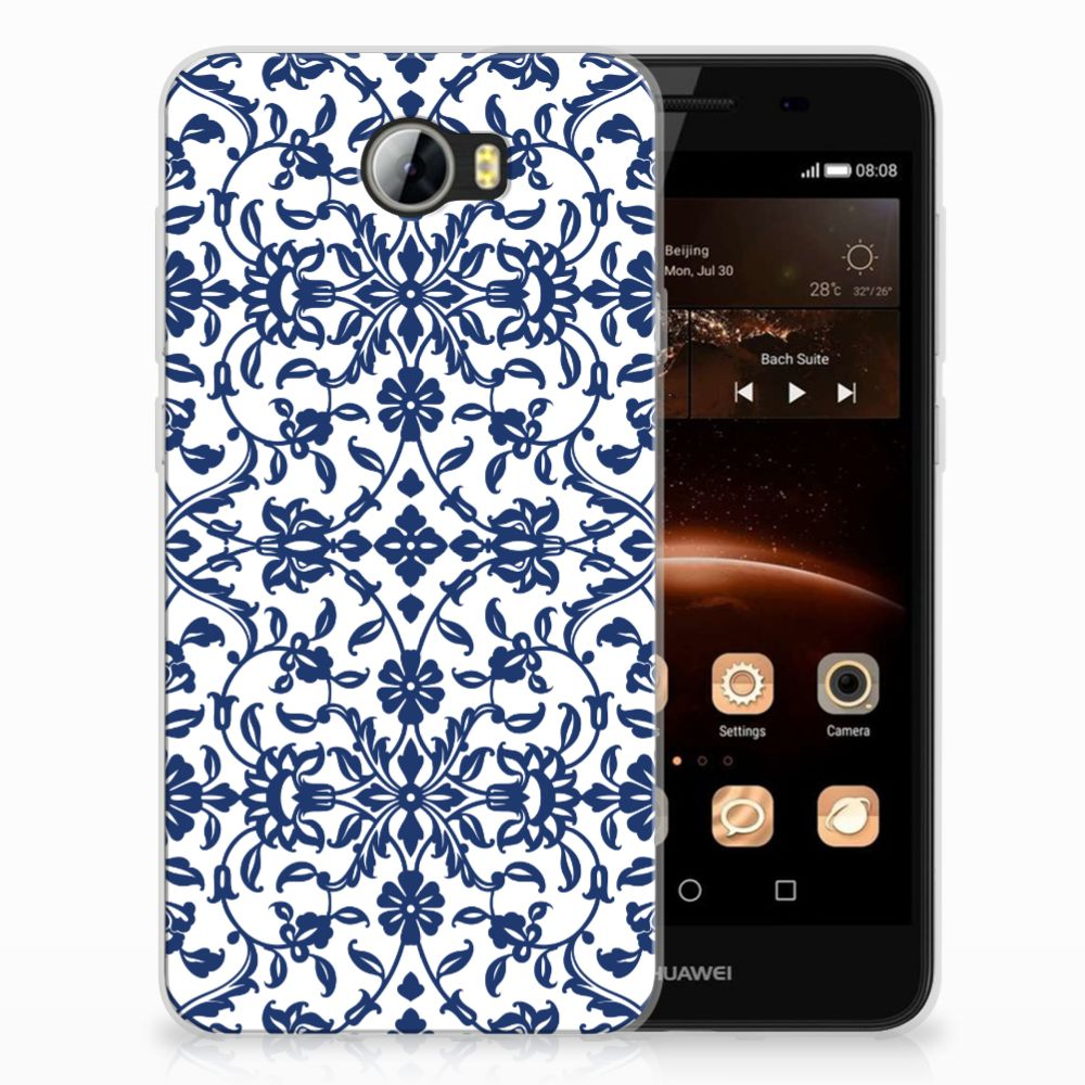 Huawai Y5 II Uniek TPU Hoesje Flower Blue