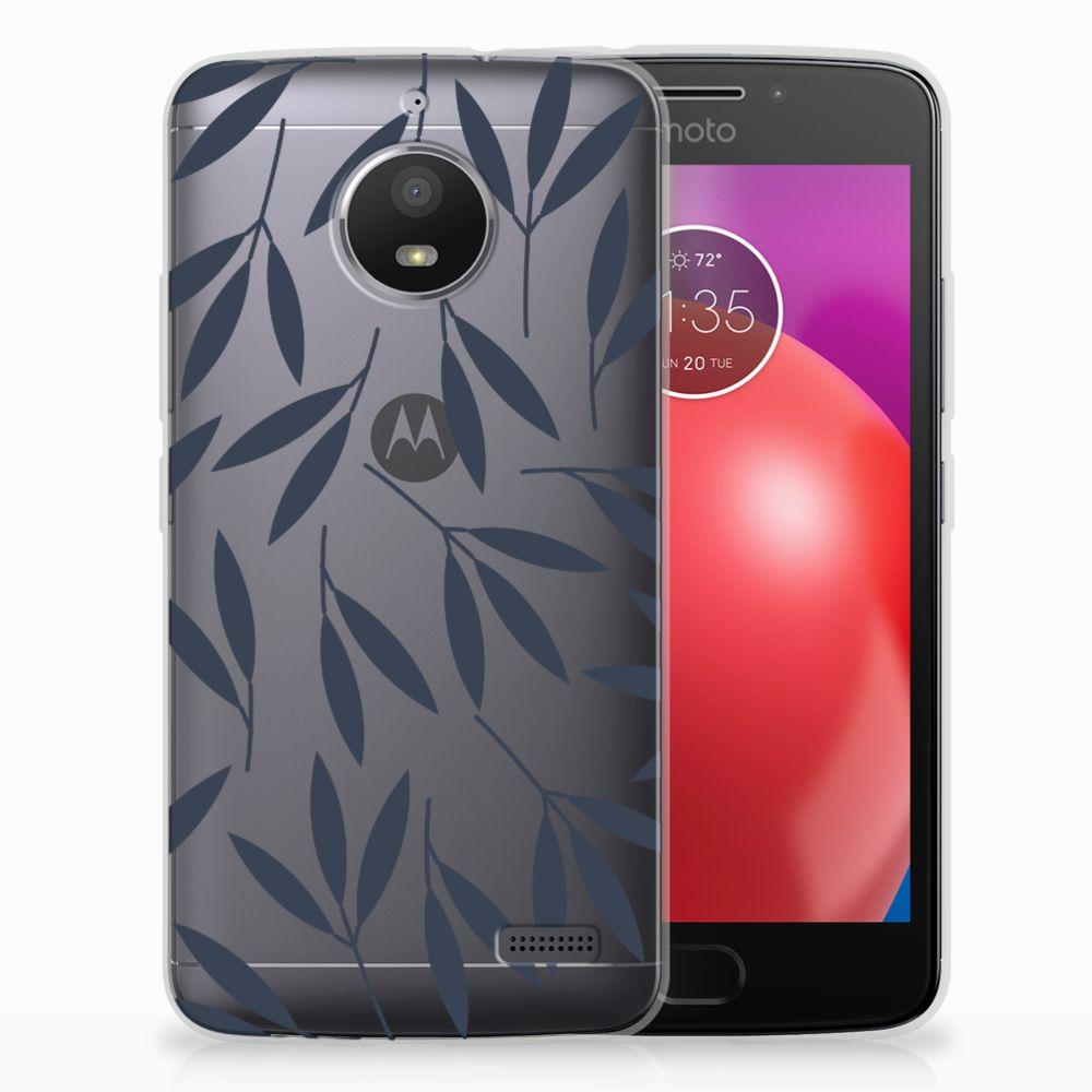 Motorola Moto E4 TPU Hoesje Design Leaves Blue