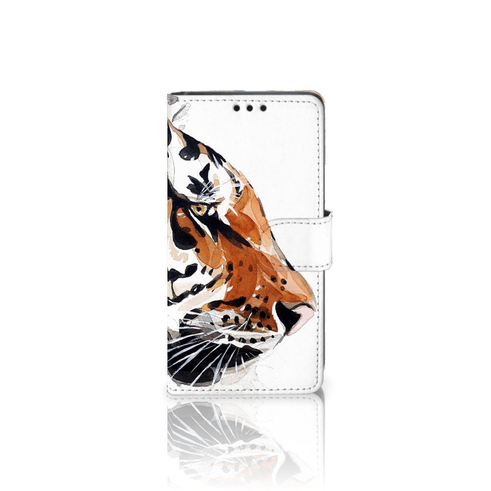 Sony Xperia Z5   Z5 Dual Uniek Boekhoesje Watercolor Tiger