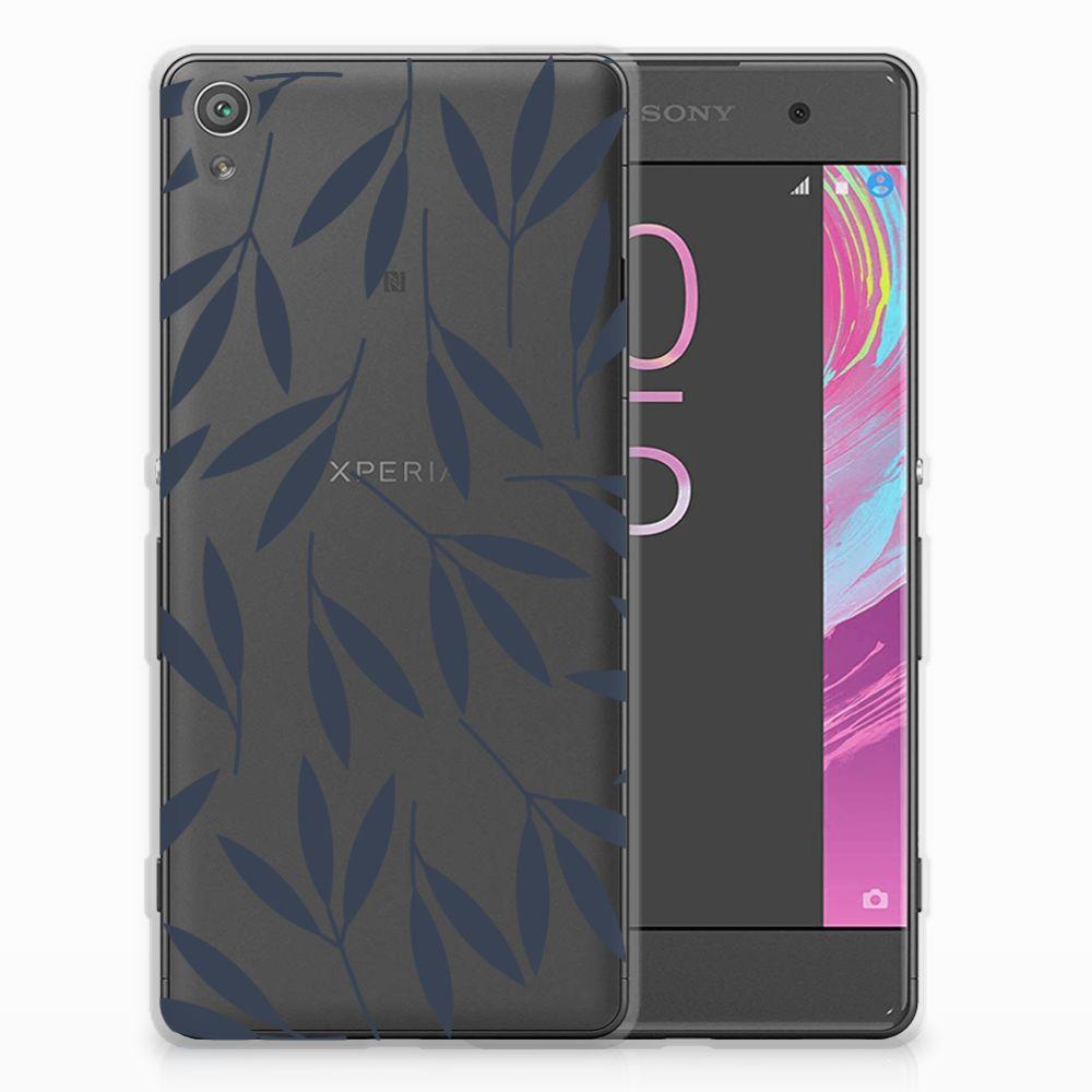 Sony Xperia XA | XA Dual TPU Hoesje Design Leaves Blue
