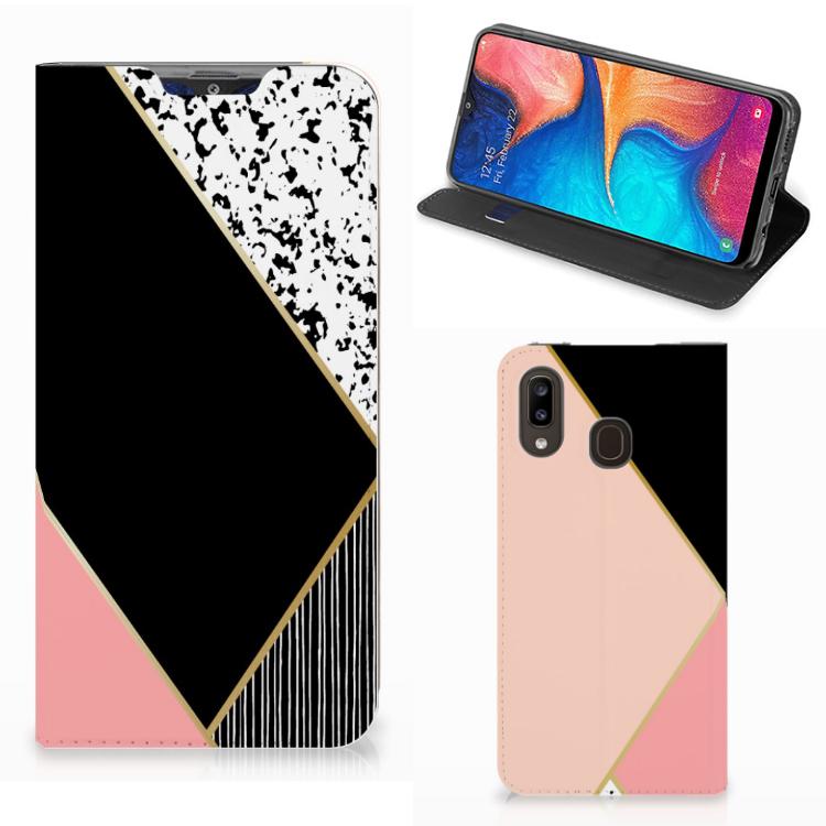 Samsung Galaxy A30 Stand Case Zwart Roze Vormen