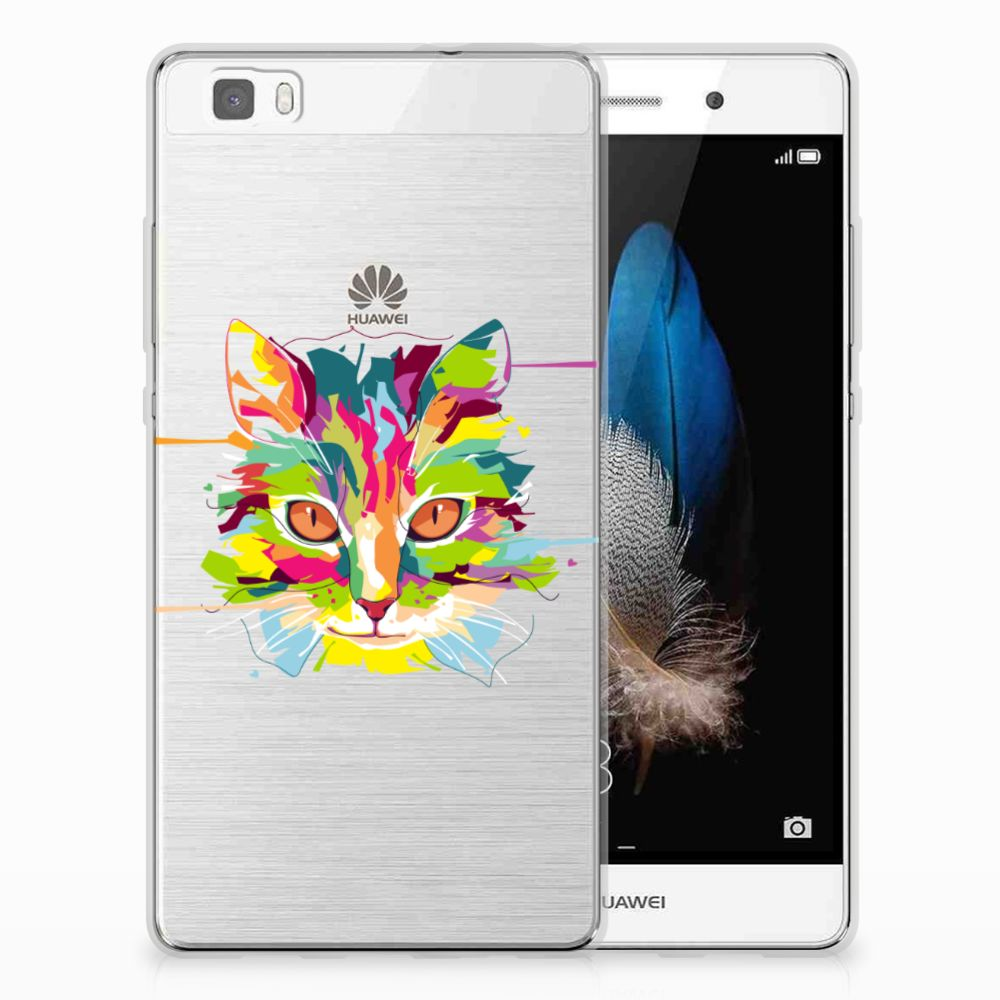 Huawei Ascend P8 Lite Uniek TPU Hoesje Cat Color