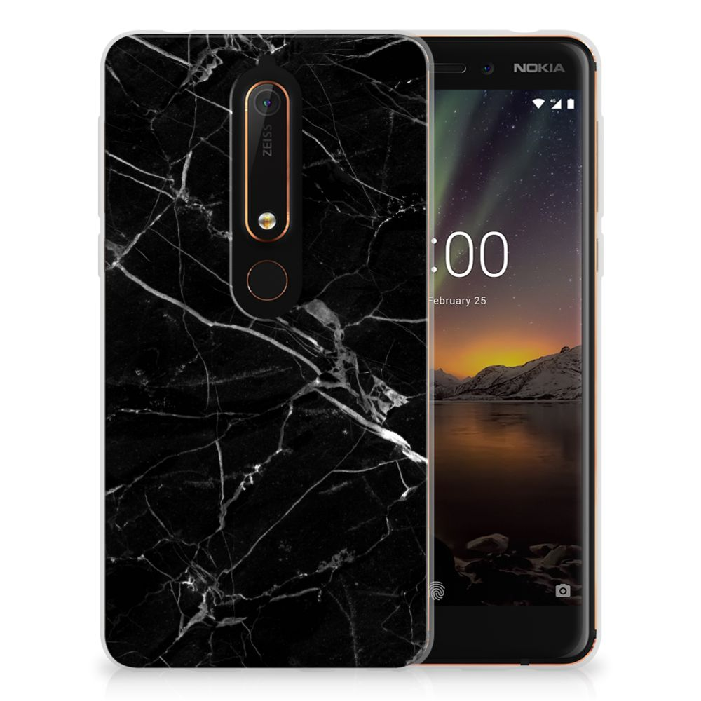 Nokia 6 (2018) Uniek TPU Hoesje Marmer Zwart