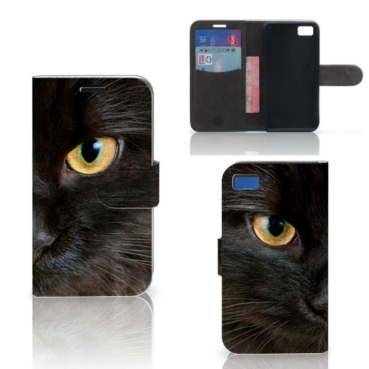 Blackberry Z10 Telefoonhoesje met Pasjes Zwarte Kat