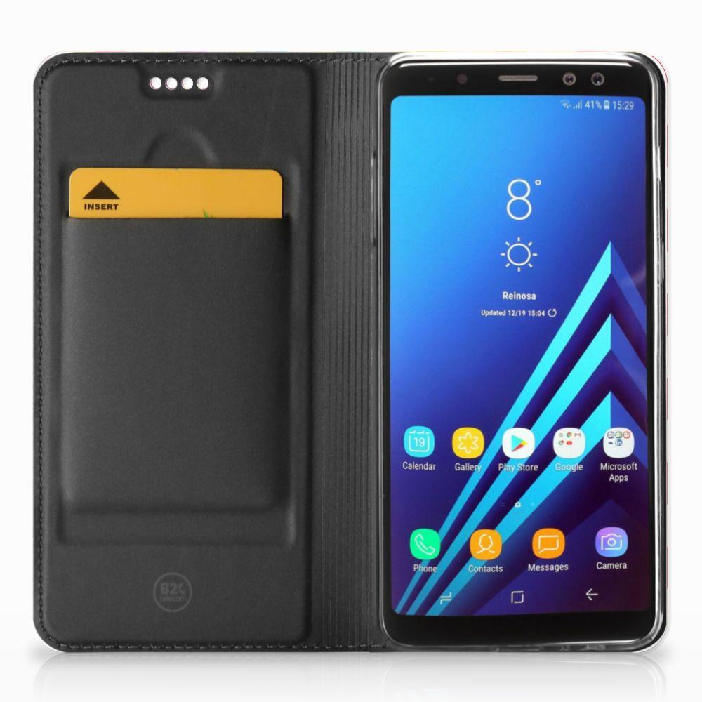 Samsung Galaxy A8 (2018) Hoesje met Magneet Zigzag Multi Color